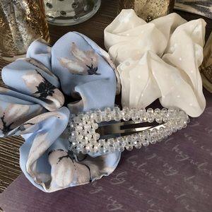 Floral Hair scrunchie n bead hair clip 3 piece set